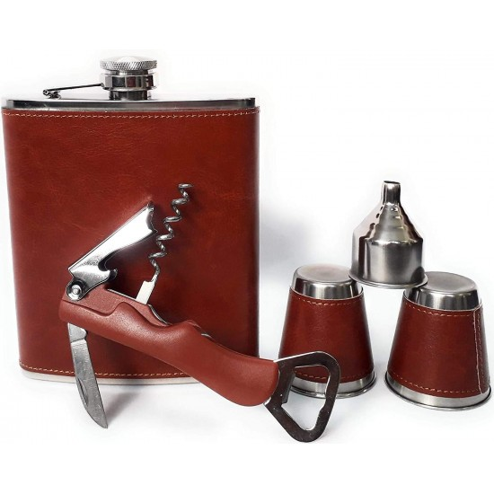 Brown Leather Hip Flask 532ml + 2 Cups + 1 Multi functional Opener + 1 Funnel Chess Bar Set