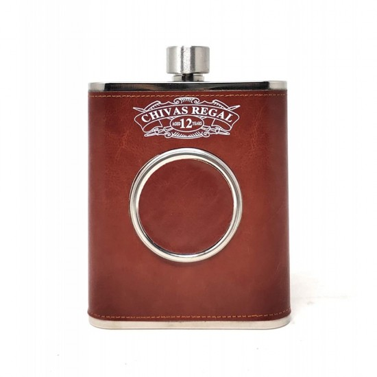 Brown Leatherite Hip Flask With 1 Folding Glass Wine Whiskey Alcohol Drinks 532 ml (With Funnel)