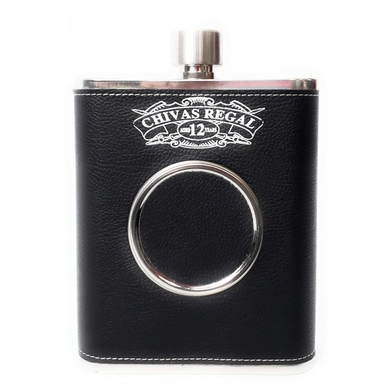 Black Leatherite Hip Flask With 1 Folding Glass Wine Whiskey Alcohol Drinks 532 ml (With Funnel)