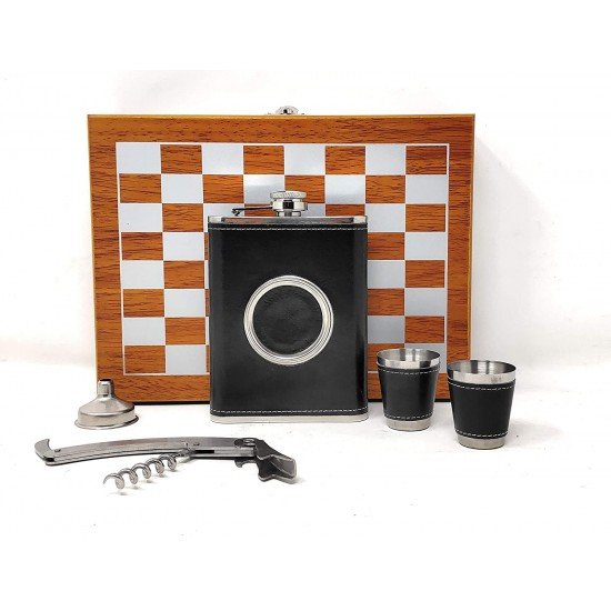 Black Leather Hip Flask + 2 Shot Glass + 1 Folding Glass + 1 Funnel + 1 Opener Chess Bar Set