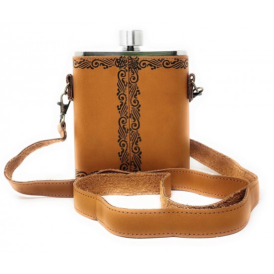 Brown Leatherite Shoulder Belt Hip Flask With Shot Glass 532ml (With Funnel)