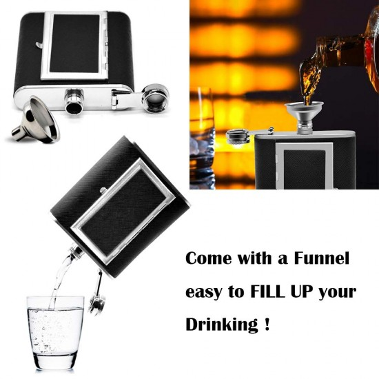 Hip Flask with Cigarette Case Stainless Steel Portable Pocket Hip Flask 236ml (With Funnel)