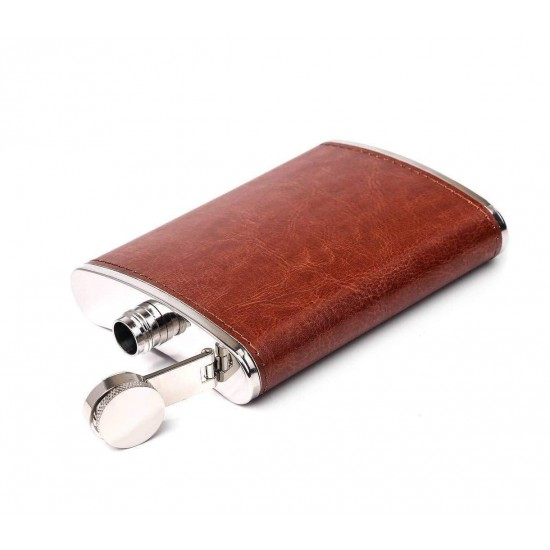 Brown Leather Wrapped Stainless Steel Hip Flask Alcoholic Drinks Holder 236ml (With Funnel)