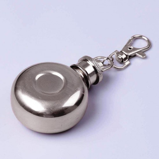 Stainless Steel Mini Round Pocket Hip Flask 1oz Key Chain Alcohol Whiskey Wine 30ml (With Funnel)
