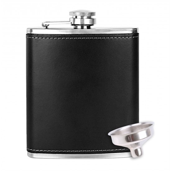 Leather Wrapped Stainless Steel Hip Flask Men Women Alcohol Drinks Wine Whisky 118ml (With Funnel)