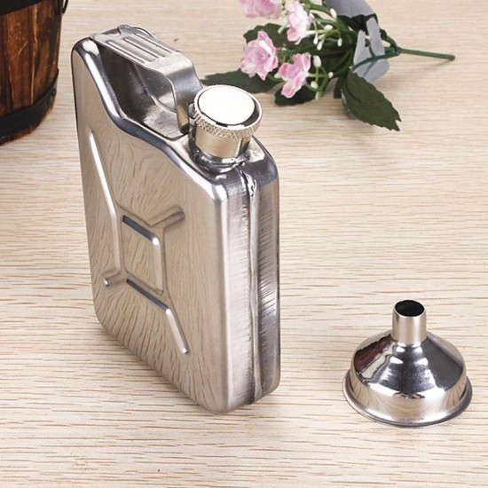 Can Shape Stainless Steel Silver Hip Flask Whisky Vodka Travel Camping 170ml (With Funnel)