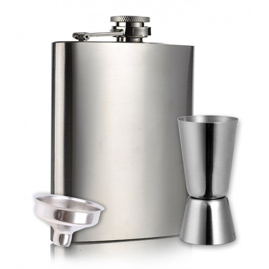 HIP Flask + Peg Measurer 30 / 60 ML Measure - Stainless Steel Stylish 207ml (With Funnel)