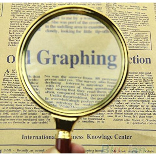 Hand Held Wooden 60mm Lens Glass 10X Magnifier Map Currency Reading