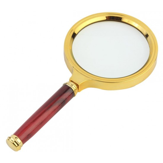 Hand Held Wooden 80mm Lens Glass 5X Magnifier Map Currency Reading
