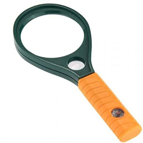 Hand Held Plastic Racket 75mm Magnifier Lens Glass with Compass 3X Magnifying