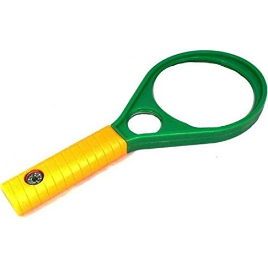 Hand Held Plastic Racket 90mm Magnifier Lens Glass with Compass 3X 6X Magnifying