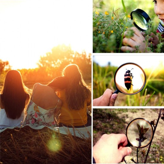 Magnifying Glass 4X Reading Handheld 75MM Lens Magnifier Non-Slip Soft Hand Handle Book Newspaper Reading
