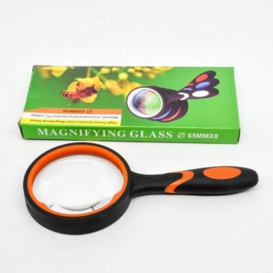 Magnifying Glass 8X Reading Magnifier Handheld 65mm Mini Lens Non-Slip Soft Handle Book Newspaper Reading