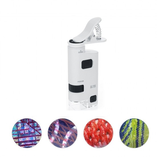 Adjustable Universal 40-60X LED Cell Phone Microscope Universal Clip Type Magnifier with LED Lamp Magnifiers Loupe