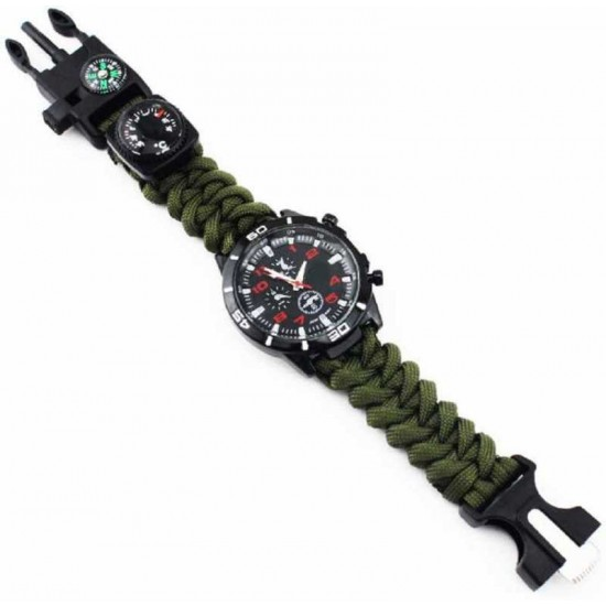 Military Army 6 IN 1 Bracelet Analog Green Round Dial  Watch