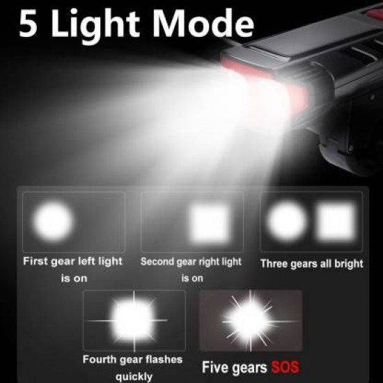 Cycle Light And Horn USB Rechargeable 2 Eyes Water Proof 5 Mode Solar Powered LED Light LED Front Light  (Black, Red)