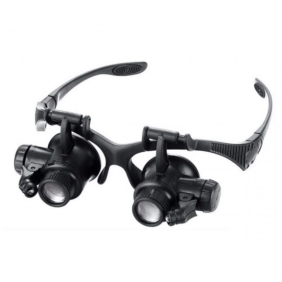 Eye Jeweler watch Repair Magnifier Spectacles Loupe 2 LED Lights 10X 15X 20X Magnifying Glass