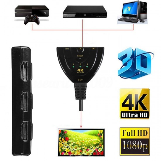 High Speed 4K Ultra HD 3 IN 1 Out Port 3 Way Switch Cable Supports
