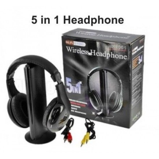 5 in 1 Wireless Cordless Headphones Headset Net chat with Mic for PC TV Radio