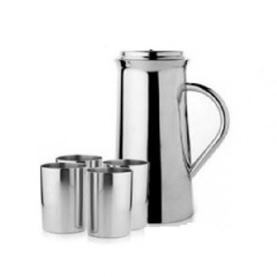 Lemon Set Stainless Steel with Big Jug and 4 Glasses , Water Pitcher