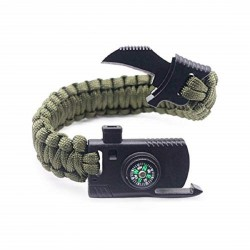 Multi Functional Survival Paracord Bracelet Compass Knife Fire Starter Whistle