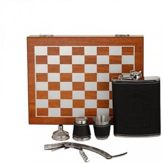 6 - Piece Bar Set Wooden Chess Hip Flask Stainless Steel Cork Wine Bottle Opener