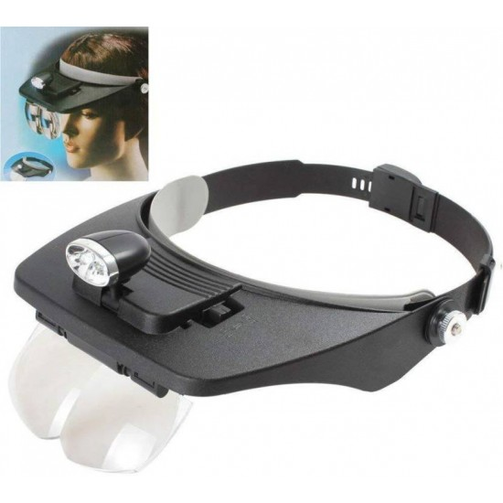 Adjustable Cap 2 LED Lamp 4 Replaceable Lens 3.5X Headband Magnifying Glass