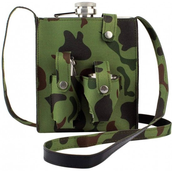 Hip Flask 18 OZ Army Knife Stainless Steel Camouflage Travel Camping