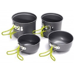 Campsor Portable Aluminum Cooking Pot Bowl Cookware Camping Picnic Set Of 4
