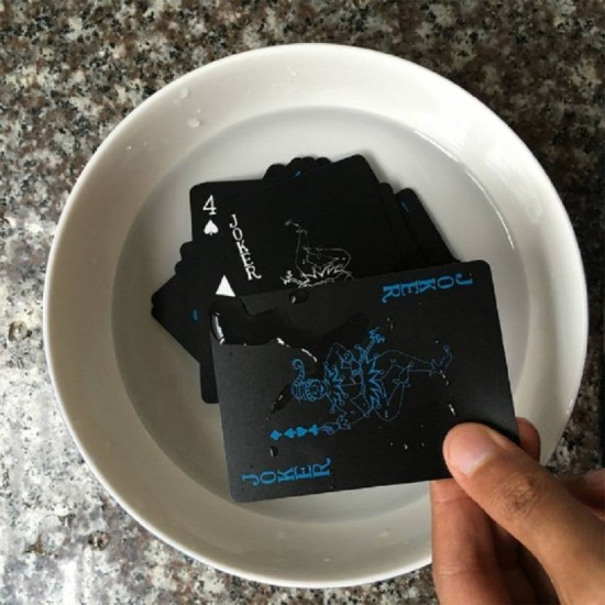 Black Unique Good Quality Plastic Waterproof Deck Poker Playing Cards