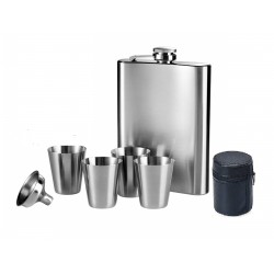 Stainless Steel Hip Flask Funnel Shot Glasses 7 Piecce Bar set